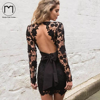 Margin Spring Women Open Back Long Sleeve Lace Dress Sexy Deep V Neck Floral Lace Crochet