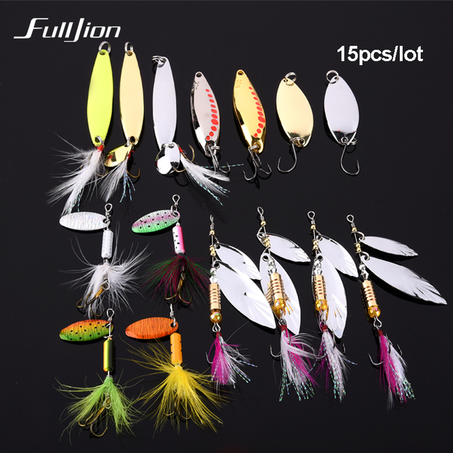 Fulljion 15pcs/lot Fishing lures Set Sequin Spoon Hand Spinner Fishing Tackle Crankbait Artificial Hard Lures Pesca Isca Baits
