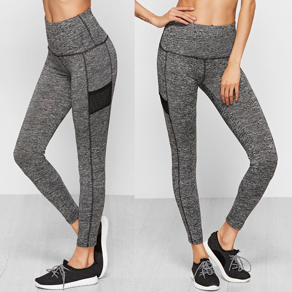 USPS Womens Sexy Mesh Patchwork Sports Yoga Workout Gym Fitness Mesh Leggings Pants Athletic Clothes Gym Slim Compression Pants