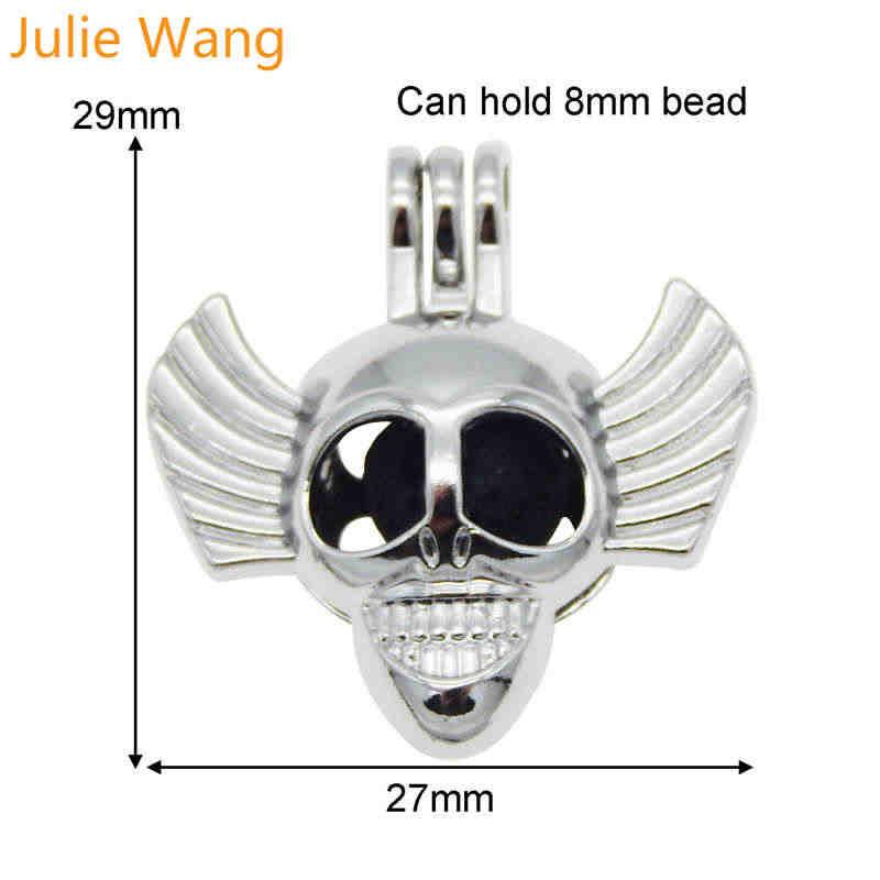 Julie Wang ze stopu biały K czaszka Clown głowy Charms Pearl koraliki OLEJEK ETERYCZNY dyfuzor medalion naszyjnik biżuteria