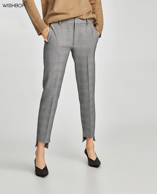 d070bf95aef9 WISHBOP NEW 2018SS Woman GREY CHECKED TROUSERS WITH ASYMMETRIC HEMS side  pockets back pockets Cropped Pants