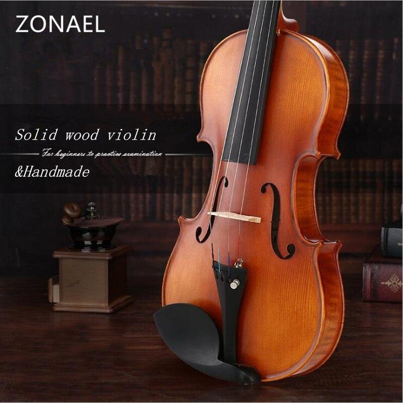 ZONAEL Beginner Solid Wood Violin 4/4 3/4 1/4 1/8 1/10 Craft Stripe Violino Back / Side Material Maple picea asperata v008 1 4