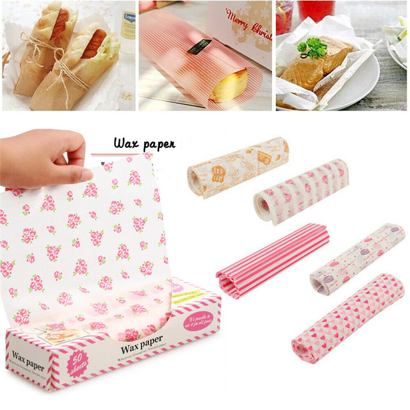 50Pcs/Lot Wax Paper Food Grade Grease Paper Food Wrappers Wrapping Paper For Bread Sandwich Burger Fries Oilpaper Baking Tools