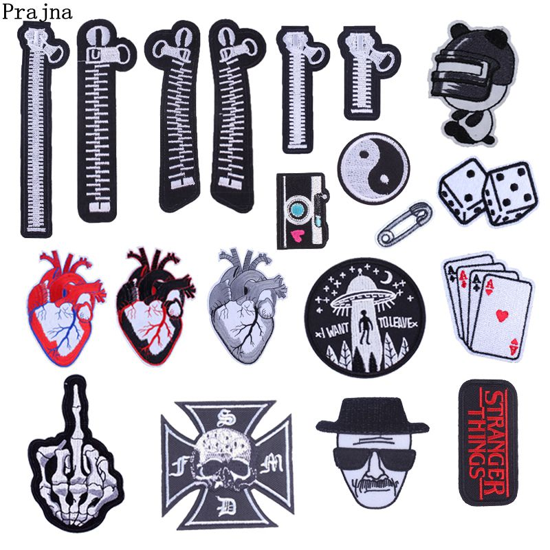 US $0 59 37% OFF|Prajna Zipper Embroidery Patches Dice Heart Iron On Patch  Stranger Things Stickers For Clothing Bag DIY Sew On Applique For Man-in