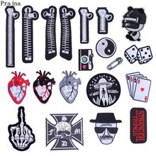 Prajna Zipper Embroidery Patches Dice Heart Iron On Patch Stranger Things Stickers For Clothing Bag DIY Sew Applique Man