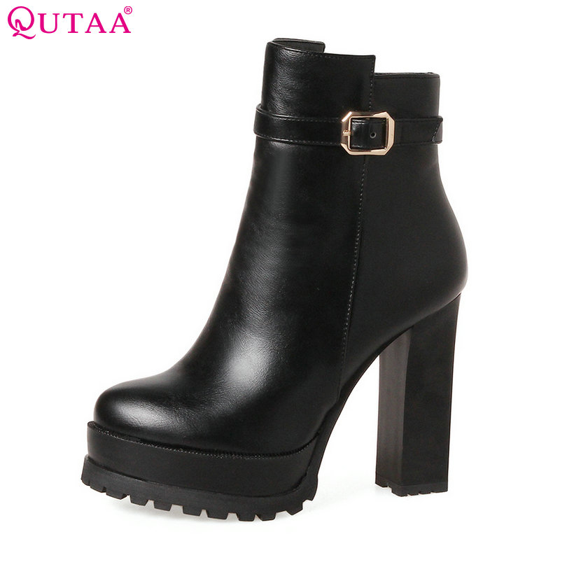 QUTAA 2018 Women Ankle Boots Square High Heel Zipper Pointed Toe Western Style Ladies Shoes Ladies Motorcycle Boots Size 34-43 vinlle women boot square low heel pu leather rivets zipper solid ankle boots western style round lady motorcycle boot size 34 43