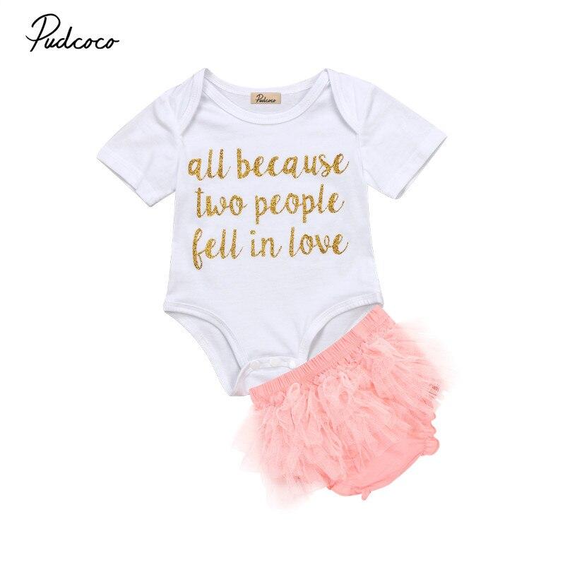 Pudcoco 2pcs Summer Toddler Newborn Baby Girls Tops Letter Bodysuit+PP Layered Pink PantsOutfit Set Clothes fonksiyonlu rende