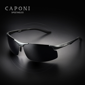 Image 2 - CAPONI Aluminum Magnesium Mens Sunglasses Polarized Sports Coating Sun Shades Driving Clear Vision Eyewear For Men UV400 CP8033