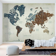 Custom Wall Cloth Abstract World Map English Alphabet Mural Wallpaper Living Room Bedroom Home Decor Waterproof 3D Wall Painting simple inspirational english alphabet big dreamer canvas painting art abstract print poster picture wall home decoration