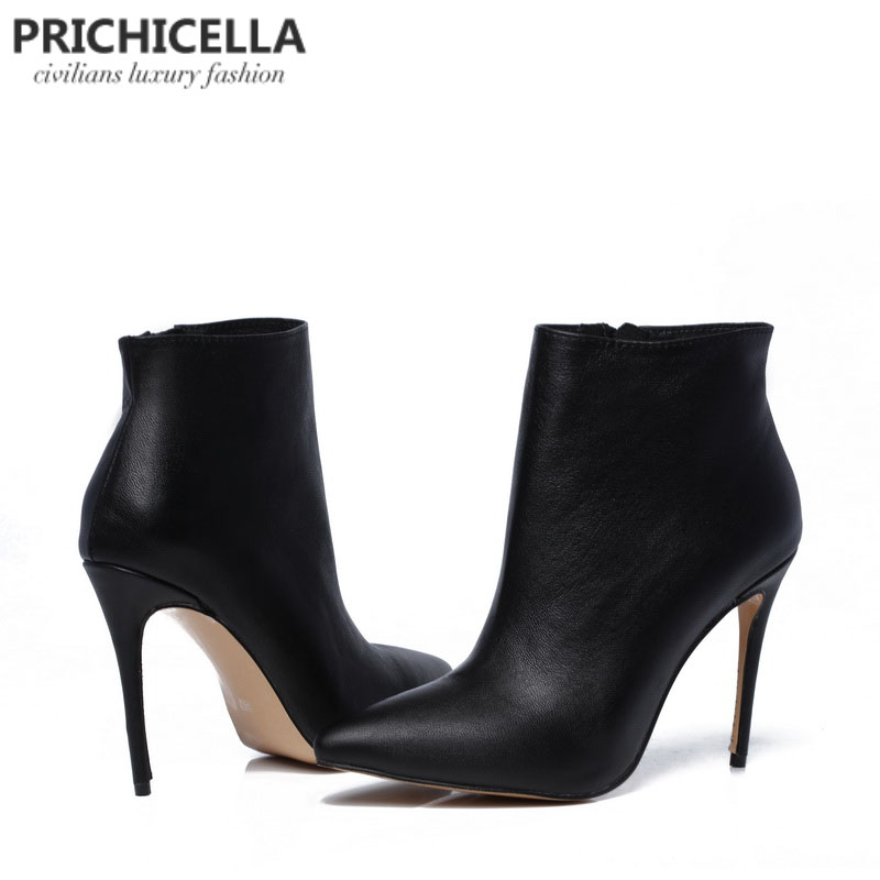 d2f56f93e04 US $79.0 |PRICHICELLA Quality women genuine leather winter boots pointed  toe black stiletto heels ankle booties size34 42-in Ankle Boots from Shoes  on ...