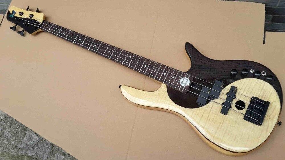 Érable avec palissandre couleur noir & blanc actif 4 cordes guitare basse