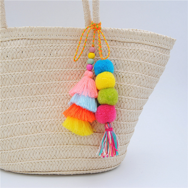 Colorful Hairball Pompones Tassels Pompoms Long Necklace Women Bag