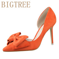 Spring Autumn Sweet Women Pumps Shallow Mouth Pointed Suede Side Hollow Bow Tie 9 5 CM