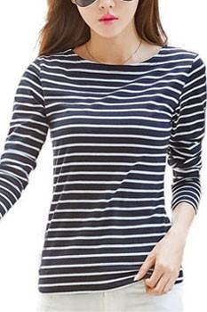 HTB1KzLPSpXXXXahaXXXq6xXFXXXH - Classic Stirped Cotton T Shirt Woman Plus Size JKP165