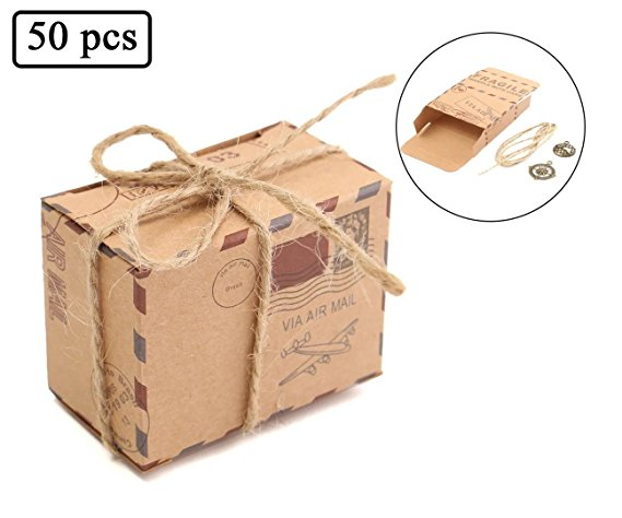 50Pcs/Pack Travel Themed Air Mail Design Candy boxes Kraft Paper Wedding Favor gifts Box With Burlap Twine and Metal Decoration