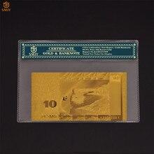 Billet de banque couleur or, 10 Lats, monnaie du monde, de Collection, feuille d'or, en papier, Souvenir de Collection