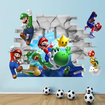 Calcomanías de pared artística con vista 3D de Super Mario Bros para Decoración de casa o guardería