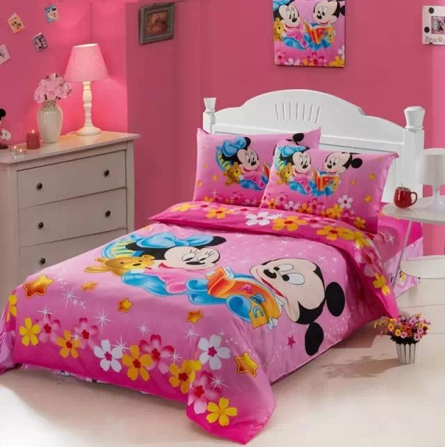 deep pink mickey minnie mouse print bedding set single twin size