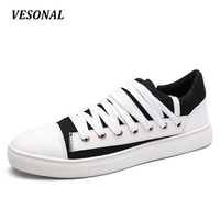 VESONAL Canvas Shoes Men Casual Fashion Personality Lace Up Low Top Male Footwear Students Young Mens