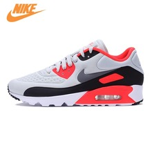 Original NIKE AIR Breathable MAX 90 ULTRA SE Men's Cushioning Running Shoes Sneakers Trainers Grey and White