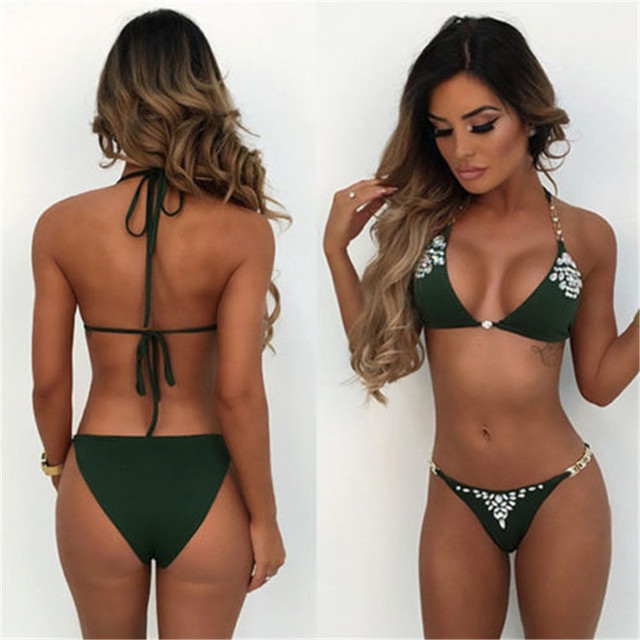 fde1cee1c1 Hot Selling Women sexy Crystal Bikini Sets Summer Bandage Padded Swimwear  Swimsuit Halter Style Bathing Suit Beachwear