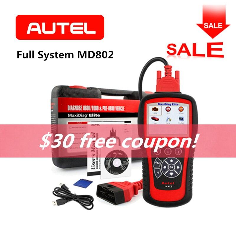AUTEL MaxiDiag Elite MD802 Automobile Lecteur de Code OBD2 Scanner ABS Airbag Moteur EPB De Voiture Outil De Diagnostic De Voiture Accessoires
