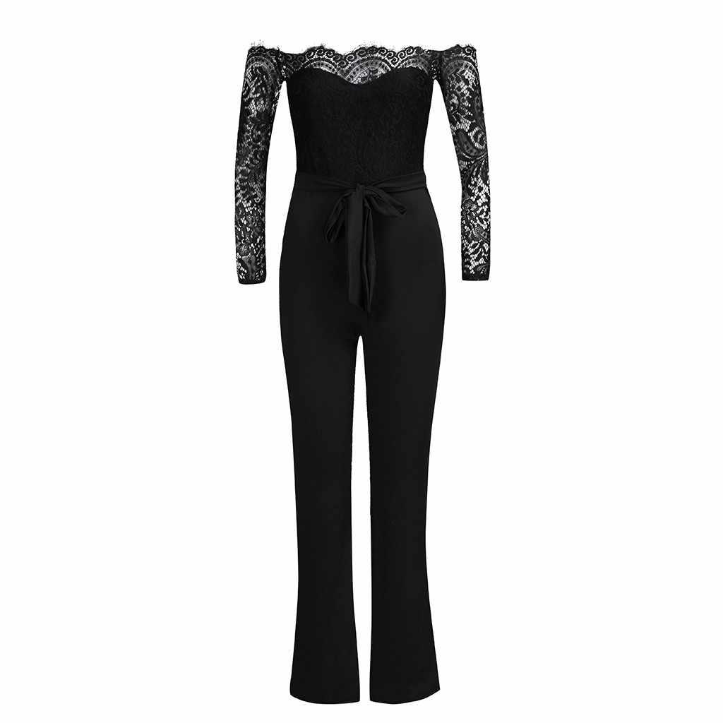 Fashsiualy ผู้หญิง overalls ฤดูร้อนปิดไหล่ลูกไม้สูงเอว Slim Bodysuit เซ็กซี่ยาว overalls Elegant Party Bodysuit