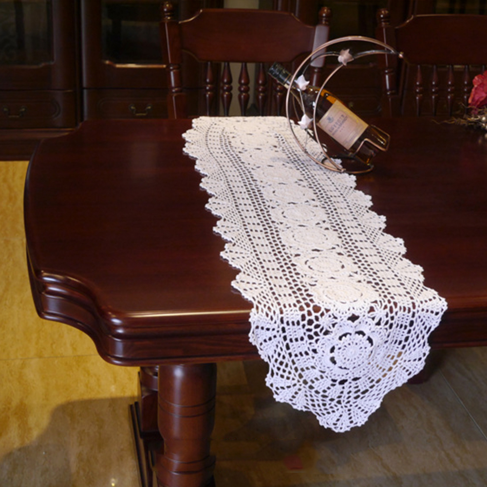 Rainqueen White/Beige Vintage Lace Table Runner Cotton Crochet Path Placemats Party Dining Table Decoration TV Cabinet Cover