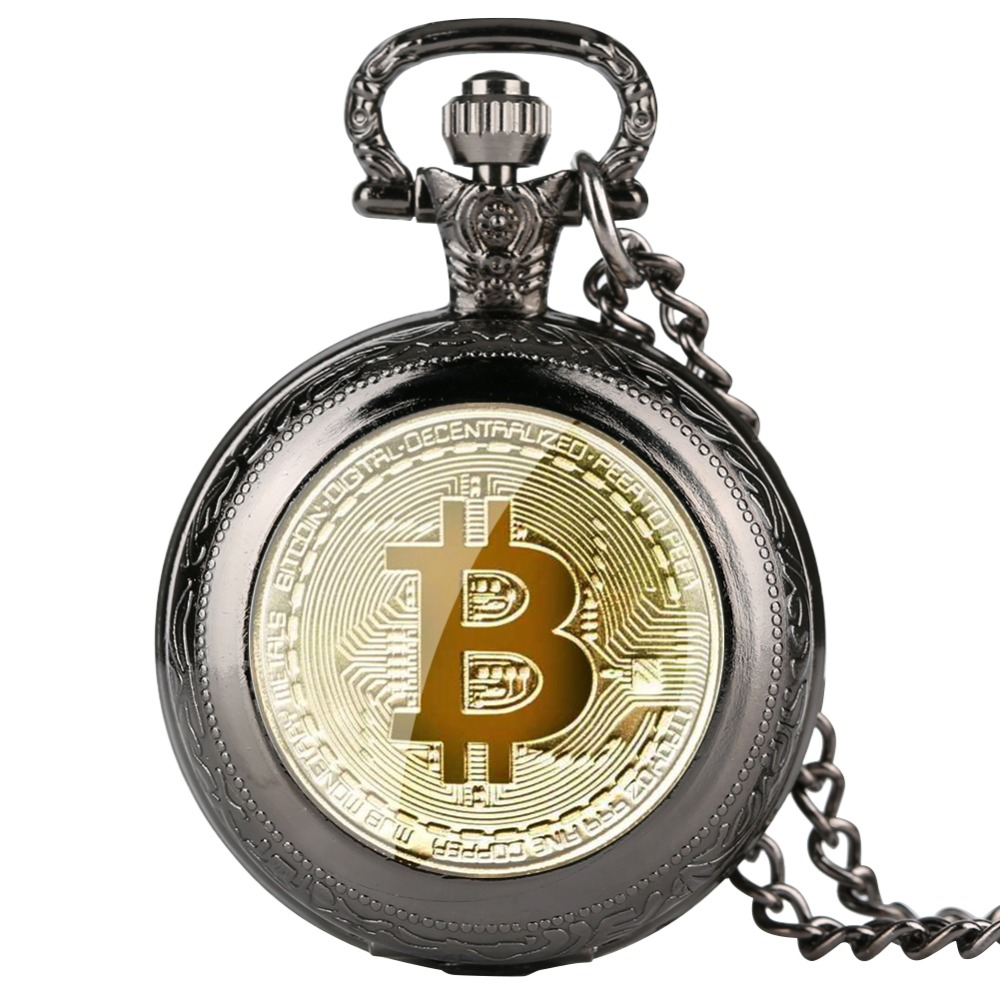 Bitcoin Patter Quartz Pocket Watch Cool Fob Watches Golden Silver Necklace Pendant For Women Men Best Gift For Children Kid Girl