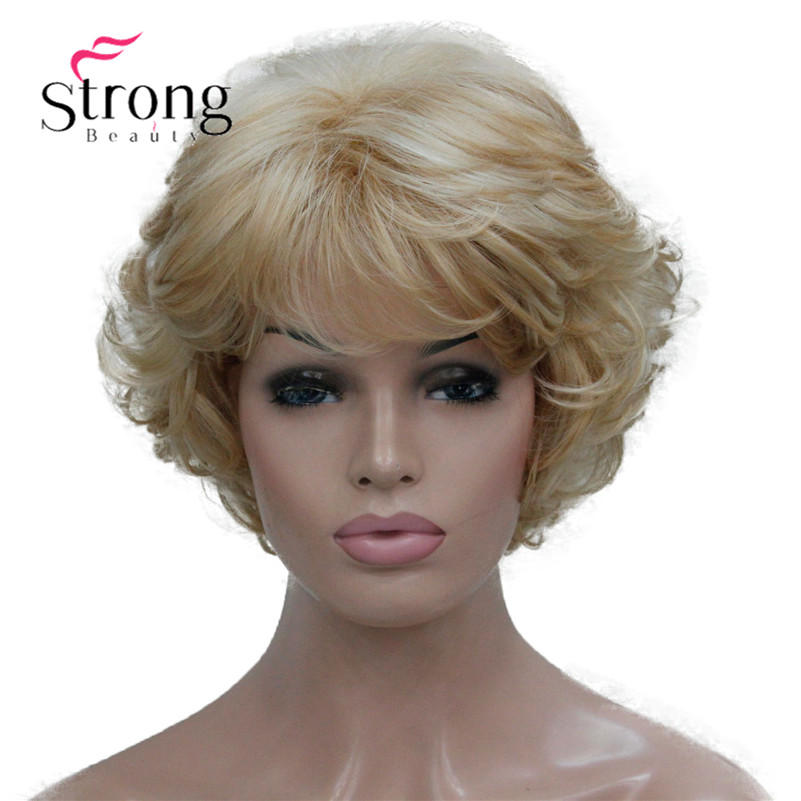 Short Thick Wavy Blonde Highlights Full Synthetic Wig Women's Wigs