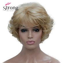 Curto grosso ondulado loira destaques completa peruca sintética perucas femininas