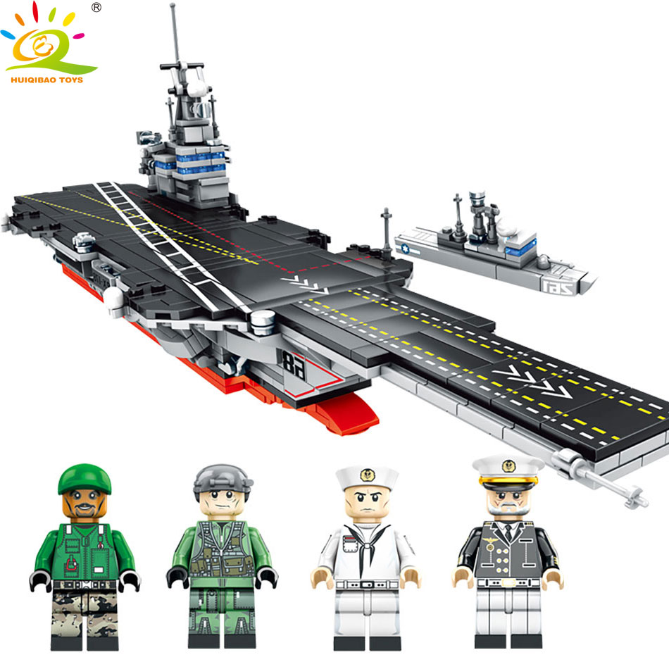 HUIQIBAO TOYS 716PCS Military Army WW2 ship Building Blocks Toys For Children Compatible Legoed Warship Navy Figures Gun bricks sluban 883pcs military series army navy warship model building blocks cruiser plane carrier bricks gift toys for children