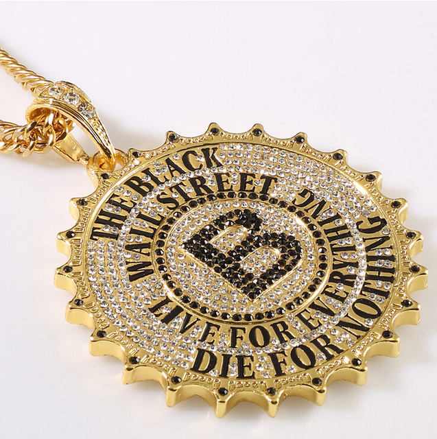 Jhnby high quality gold color gear round card big b pendants jhnby high quality gold color gear round card big b pendants necklace fashion hip hop mozeypictures Choice Image