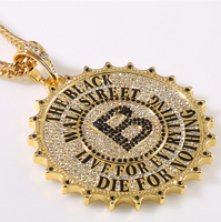 High Quality Gear Round Card Big B Pendants Necklace Fashion Star Hip Hop Rock DJ Bar