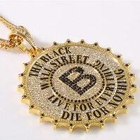 High Quality Gear Round Card Big B Pendants Necklace Fashion Star Hip Hop Rock DJ Bar