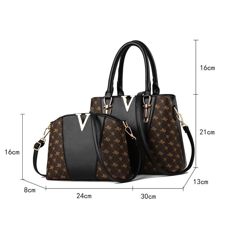 Image 4 - 2 PCS Women Bags Set Leather Handbag New Women Tote Bag Ladies Handbags Shoulder Bag for Women 2018 Luxury Messenger Bag Bolsas-in Top-Handle Bags from Luggage & Bags