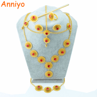 Ethiopian Set Jewelry Gold Earring Necklace Ring Hairpins Hair Chains Bracelet 6pcs Gold Plated 18k African