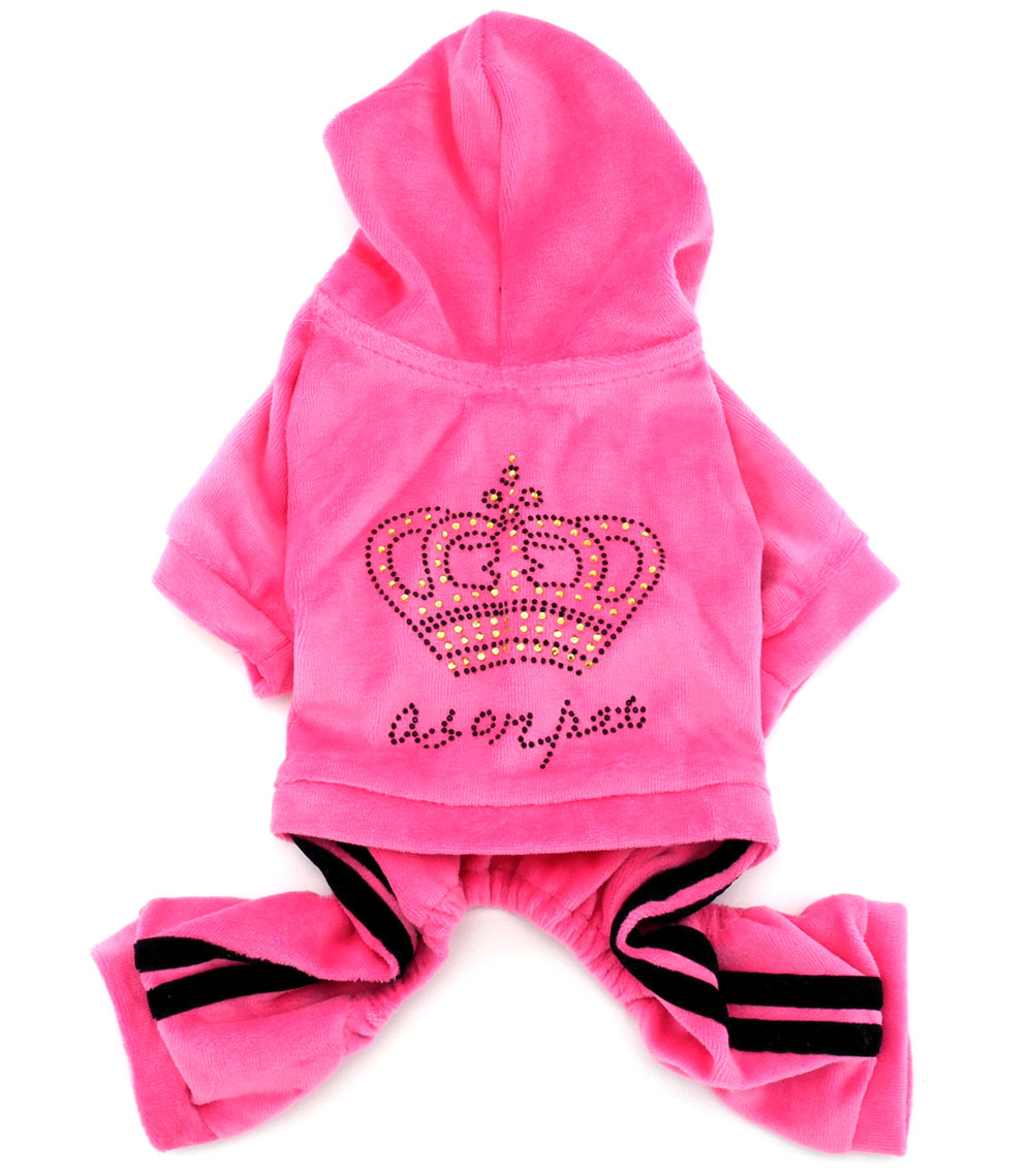 Kleine Hund Crown Soft Samt Winter Overall Mantel Hooide Horn-knopf-mantel Pyjamas Sport Haustier Trainingsanzug