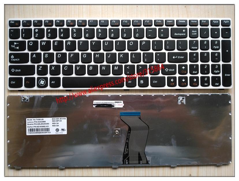 US Keyboard For LENOVO IdeaPad G580 Z580A G585 Z585 G590 Z585A layout