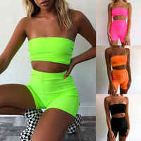 Off Schulter Yoga Anzug 2019 Sommer Casual 2 Stück Frauen Sommer Strampler Crop Top Tank Weste Shorts Sport Outfits