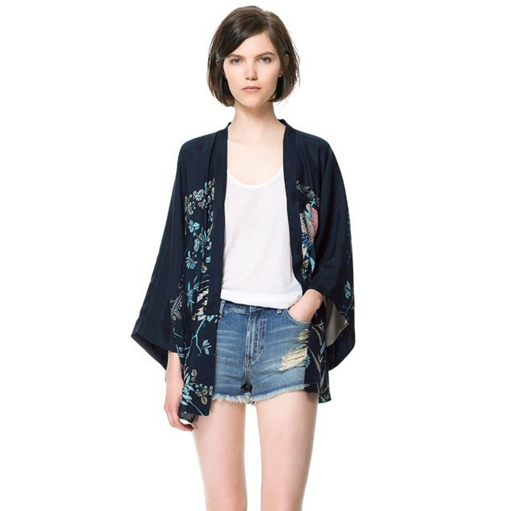 Women Europe and America Fashion Style Retro Print Cardigan Kimono ...