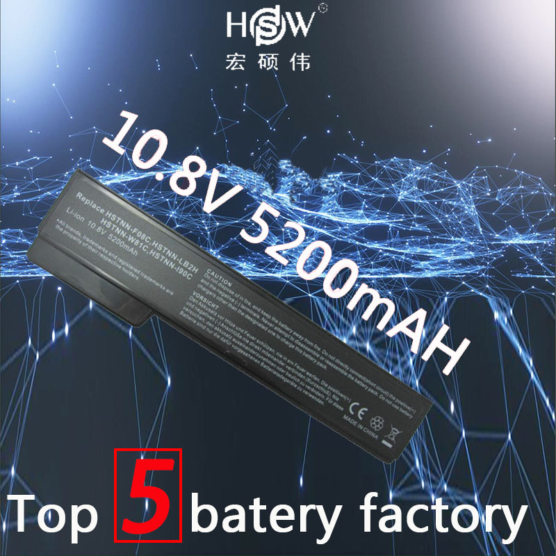 HSW 6 Cells 5200mAH Battery For HP EliteBook 8460p 8460w 8560p ProBook 6360b 6460b 6465b 6560b 6565b 628369-421 Batteria Akku