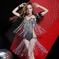 # 2027 Bodysuit + перо плечо сексуальное блестка певица закрутила горный хрусталь боди блесток сценические костюмы для певцов