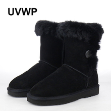 Fashion Natural Rabbit Fur Women Shoes Women Snow Boots Top Quality Winter Boots Genuine Leather Women Boots Warm Winter Boots(China)