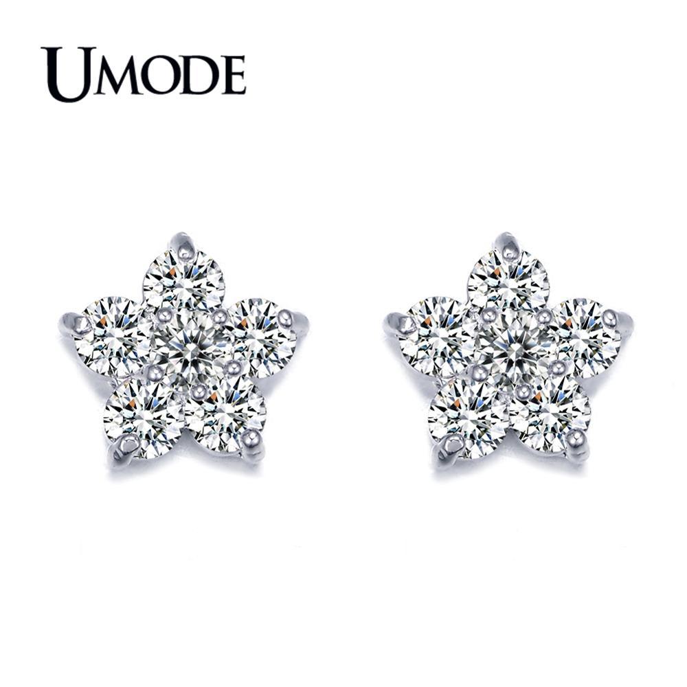 UMODE дешеві жіночі ювелірні сережки найвищої якості AAA CZ квітка у формі стад сережки для жінок весілля Brincos AUE0080