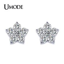 UMODE Cheap Female Jewelry Earrings Top Quality AAA CZ Flower Shaped Stud Earrings For Women Wedding Brincos AUE0080