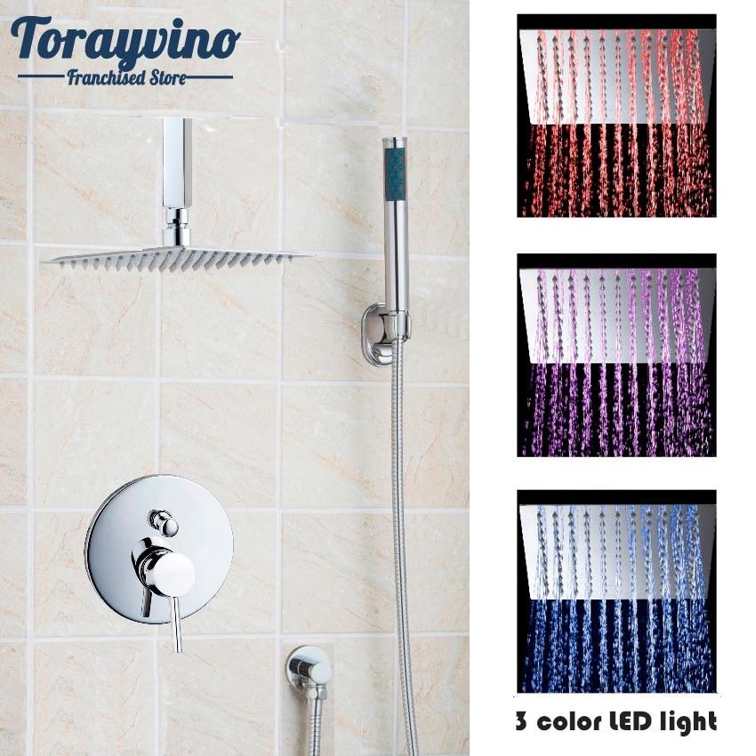 все цены на Torayvino Shower Set LED Fashion Style Polished Chrome Single Handle Basthroom Faucet Tub Mixer Tap Handheld Shower Wall Mounted