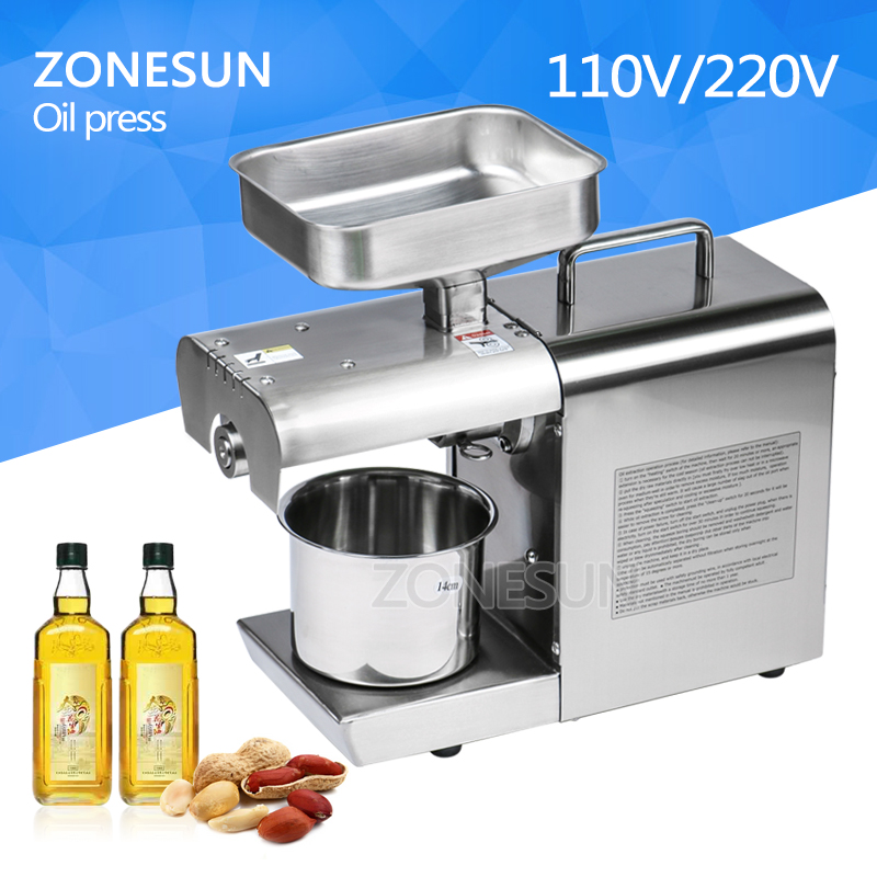 ZONESUN Stainless Steel 110V Or 220V For Choose Seed Nut Oil Press Machine Commercial Grade Oil Extraction Expeller Presser home use 110v or 220v seed oil press machine nut seed automatic stainless all steel presser high oil extraction