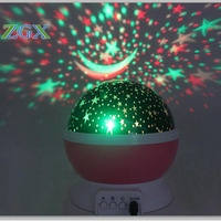 LED Rotating Night Light Projector Spin Starry Sky Star Moon Master Children Kids Baby Sleep Romantic