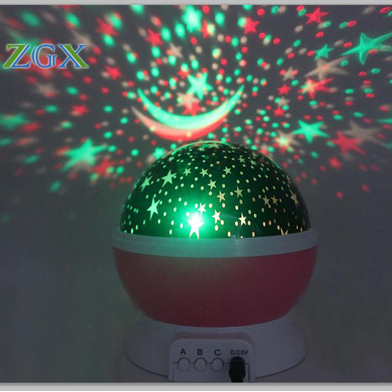 USB LED Rotating Night Light Projector Spin Starry Sky Star Moon Lamp Master Children Kids Baby Sleep Romantic Projection Party